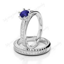 14k White Gold Over 925 Sterling Silver Blue Sapphire Gemstone White Sim... - $123.45