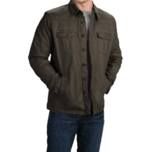 Large Ecoths Men's Ryker Button-Down Shirt Jacket Cotton Stretch Black Olive NEW
