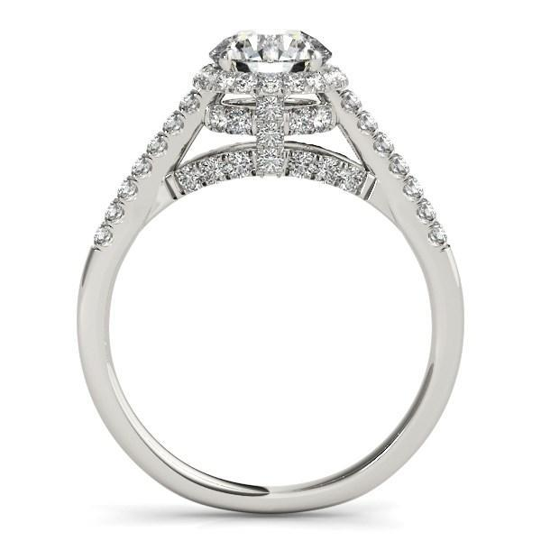 14k White Gold Round Cut Pave Set Shank Diamond Engagement Ring (1 3/8 cttw)