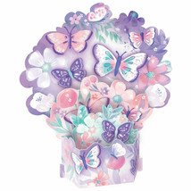 Butterfly Party CENTERPIECE Table Decoration Purple FLORAL BIRTHDAY Flutter - $14.80