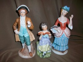VINTAGE FRENCH PROVENCIAL PASTORAL MAN WOMAN & GIRL FIGURINES PORCELAIN ... - $19.79