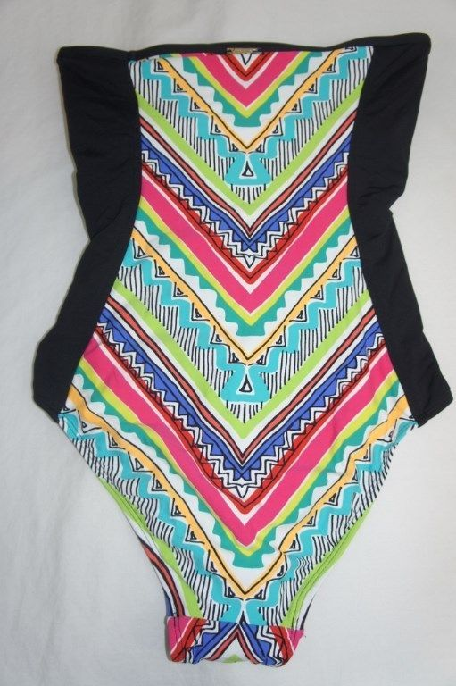 Anne Cole One Piece Sz 14 Black Multi Swimsuit Ruched Geometric Print 15MO044
