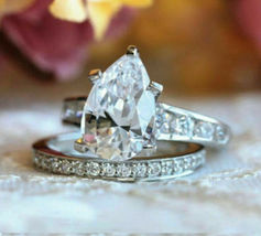 3.00Ct Pear Cut Diamond Solid 925 Sterling Silver Anniversary Ring with ... - $120.00
