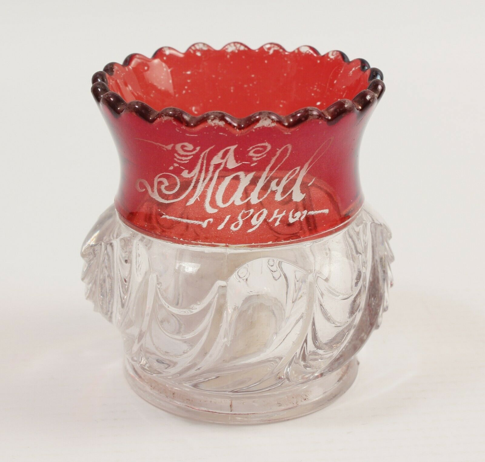 1894 US Glass Toothpick Holder Ruby Flash Mabel Engraved - $16.82