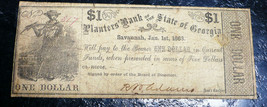 PLANTERS BANK OF THE STATE OF  GEORGIA $1 BANK NOTE 1863 haxby#320-G102 - $117.81