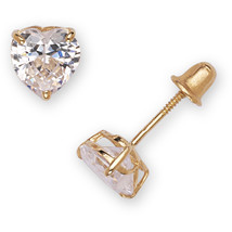 14k Yellow Gold Heart-cut Cubic Zirconia Stud Earrings - $50.99
