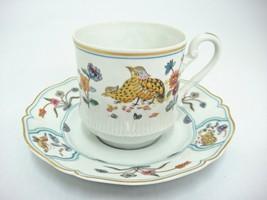 Haviland Limoges Aux Cailles Demitasse Tea Cup and Saucer Quail Birds Flowers - $23.50