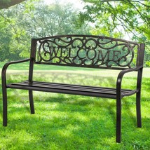 Premium Garden Bench Park Yard Outdoor Furniture Steel Frame Porch Chair... - $109.74