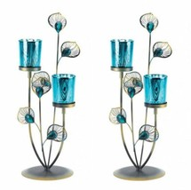 "2 pc Peacock Plume Table Candle Holder Blue Iron Glass Gallery 14"" SL 10... - $37.26"