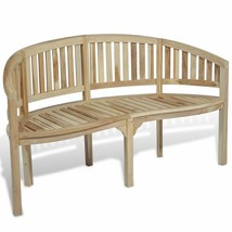 vidaXL Teak Wood Garden Bench Patio Banana Shape 3-Seater Chair Seat Out... - $138.99