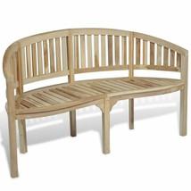 vidaXL Teak Wood Garden Bench Patio Banana Shape 3-Seater Chair Seat Out... - $138.99