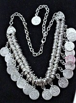 Unsigned Vintage Chunky Choker Bold Coin Necklace - $29.95