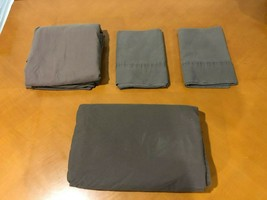 Bed Bath & Beyond 100% cotton Brown King Sheet Set 2 Pillowcases, Fitted... - $9.89