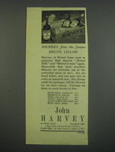 1949 Harvey's Sherry Ad - Sherrie's from the famous Bristol cellars - $14.99