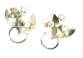 Vintage Retro Costume Jewelry Clip On Earring Silver Toned Leaf Leaves - $11.87