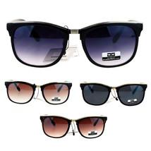 Womens Designer Fashion Boyfriend Horn Rim Metal Flat Top Sunglasses - $9.95