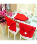 (01)4-5pcs/lot Santa Clause Chair Cap Red Hat Furniture Chair Back Cover... - $32.00
