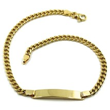 """SOLID 18K YELLOW GOLD BRACELET GOURMETTE LINK 3 MM ENGRAVING PLATE, 20.5cm 8.1"""" image 1"""