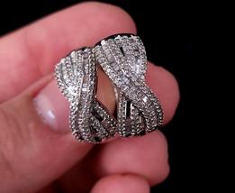 Vintage Sterling Silver 2cttw Diamonds Huggie Cute Hoop Earrings Sparkle... - $179.99