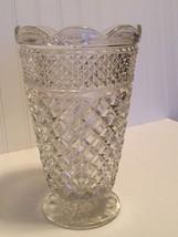 "Vintage Anchor Hocking WEXFORD PATTERN 10"" Vase Scalloped Edge Flower Va... - $12.82"