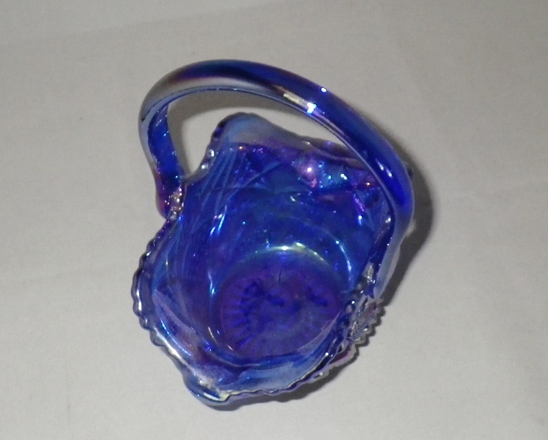 Smith Blue Carnival Glass Basket Vibrant Iridescent Glass