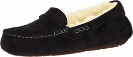 Womens UGG Ansley Moccasin Slippers - Black Suede, Size 6 [3312] - $99.99