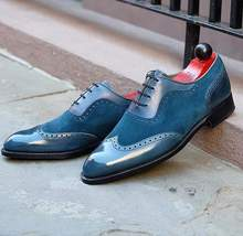 Handmade Men's Blue Wing Tip Leather and Suede Dress/Formal Oxford Shoes image 3