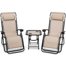 Reclining Lounge Chairs Table Portable 3 Piece Folding Zero Gravity Beig... - $135.74