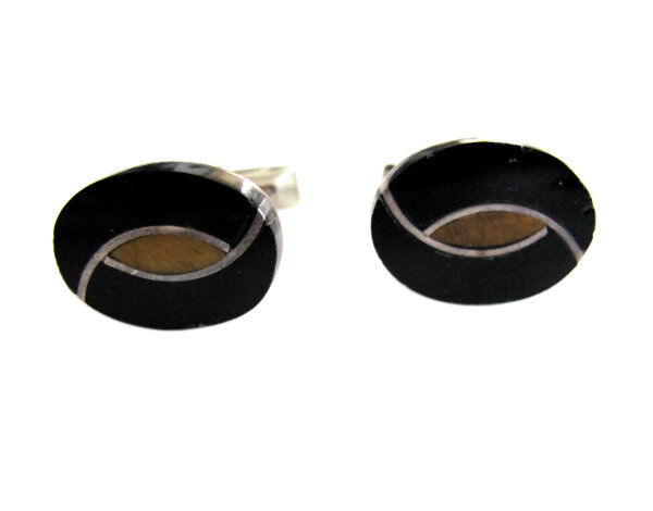 Vintage Mexican Sterling Silver with Black Onyx & Tiger Eye Inlay Cuff Links