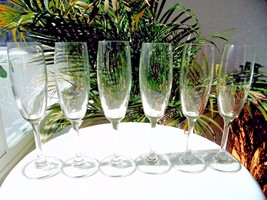 "Set of 6 Clear Crystal Champagne Flutes 8"" Tall - $39.59"