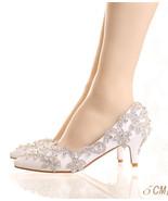Women Ivory White Swarovski Crystals Wedding Shoe,Bridal Low Heel Shoes ... - £71.68 GBP