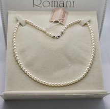 18K WHITE GOLD & 925 SILVER NECKLACE PEARLS 4.5 5 MM BEAUTIFUL BOX MADE IN ITALY image 2