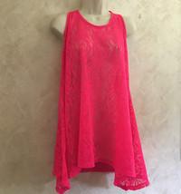 OP Ocean Pacific Large 11 13 Juniors Pink Coverup Sheer Lace Swimwear Jr  - $9.79