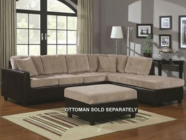Coaster Reversible Beige / Brown Soft Corduroy Two-Tone Sectional Sofa - $499.95