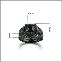 Exquisette Black Pave Cubic Zircons Black Diamonds Black Gold Plated Rings Sets image 4
