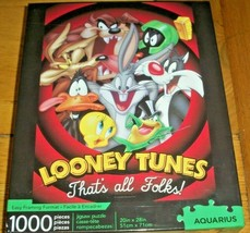 Jigsaw Puzzle 1000 Pcs Looney Tunes Bugs Bunny Taz Marvin Daffy Tweety C... - $14.84