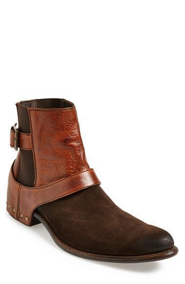 Handmade Men's Brown Suede And Leather Chelsea Boots