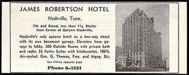 James Robertson Hotel Ad Nashville Tennessee Radio Bath 1953 Roadside Ad... - $10.99