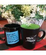 Coffee Mugs Stitch Happy or Back Away Perfect Stitcher's Gift! Cross Stitch - $7.60