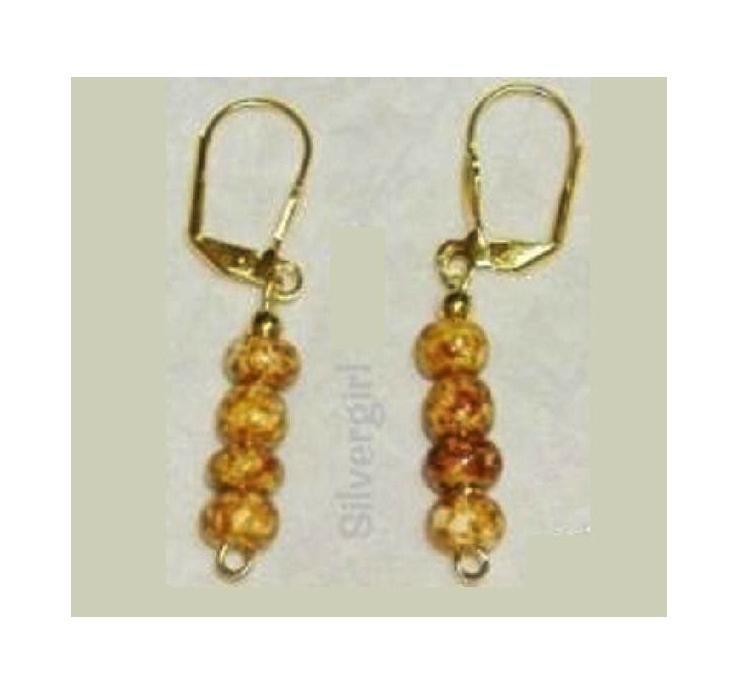 Brown Mottled Glass Bead Dangle Earrings