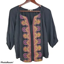 Skies Are Blue Womens Blouse XS Black Boho Embroidered Festival Top Shirt  - $17.99