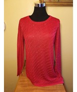 Red Glitter Asymmetric Layered Sequin Knit Sweater - S - $27.47