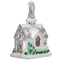 Sparkling Cathedral Ornament Old World Christmas Glitter Accents New Church  - $18.80
