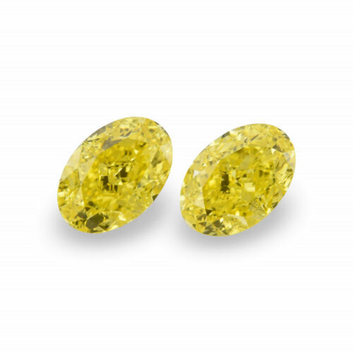 Primary image for 1.27 Carat Fancy Intense Yellow Loose Diamond Natural Color Oval Shape Pair GIA