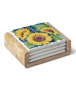 Absorbent Stone Coaster Set - Sunflowers on Blue 4 Coasters with a Woode... - $20.99