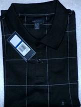 Van Heusen Windowpane Short Sleeve  Polo Shirt BLACK  Men's Sz. XL NWT Q... - $18.19