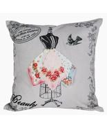 Vintage Style Victorian Dress Form Crinoline Handkerchief Bird Pillow Cover - $12.50