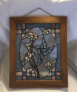 Stained glass hummingbird hanging window panel with wood frame and metal... - $35.00