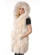 Luxury gift Cream Fox Fur Vest Hooded all sizes Wedding or anniversary p... - $445.50