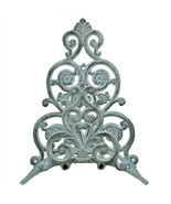 Garden Hose Holder Distressed White Cast Iron Hanger Floral & Spade 13.2... - $26.72